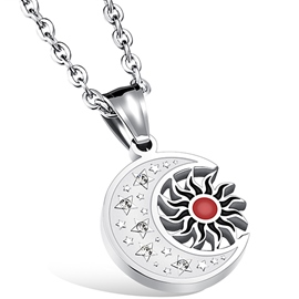 Ericdress Vintage Sun Moon Titanium Steel Men's Necklace