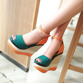 Ericdress Patchwork Ankle Strap Wedge Sandals