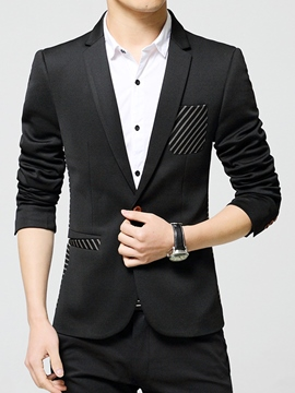 Ericdress Stripe Patchwork Vogue Slim Men's Blazer