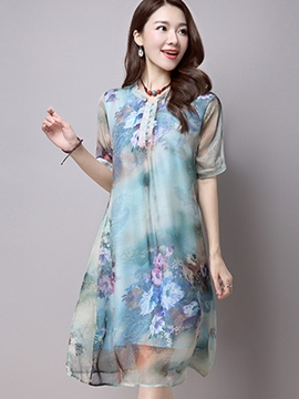 Ericdress Chiffon Floral Casual Dress