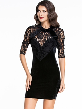 Ericdress Solid Color Backless Lace Dress