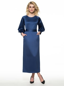 Ericdress Chic Soild Color Long Ankle-Length Maxi Dress