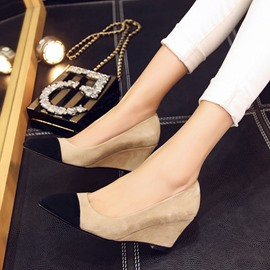 Ericdress Contrast Color Point Toe Wedges