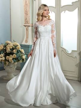 Ericdress Charming Illusion Neckline A Line Long Sleeves Wedding Dress