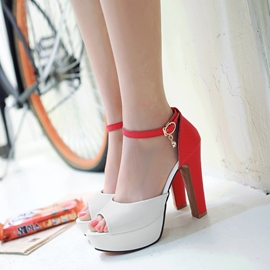 Ericdress Contrast Color Peep Toe Chunky Sandals
