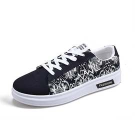Ericdress Floral Lace-Up Front Flat Heel Men's Canvas Shoes