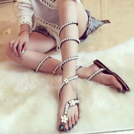 Ericdress Snake Shape Pearl Cross Strappy Flat Sandals