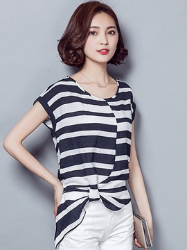 Ericdress Asymmetric Pleated Stripped T-Shirt