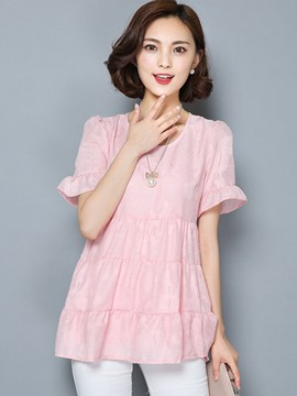 Ericdress Solid Color Slim Wave Cut Blouse