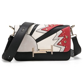Ericdress Color Block Stripe Patchwork Crossbody Bag