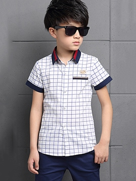Ericdress Preppy Plaid Boys Shirt