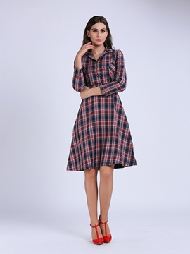 Ericdress T-Shirt Plaid Casual Dress