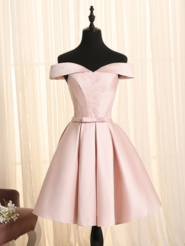 Ericdress A-Line Off-the-Shoulder Bowknot Lace Sashes Mini Homecoming Dress