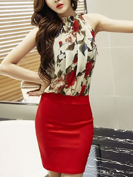 Ericdress Summer Print Patchwork Sleeveless Bodycon Dress