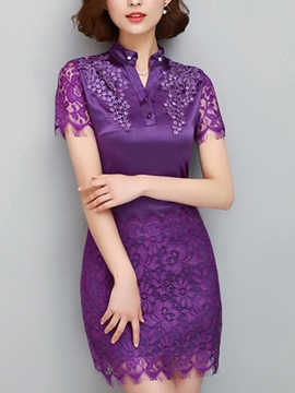 Ericdress Solid Color Lace Patchwork Bodycon Dress