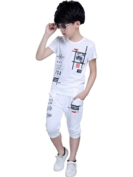 Ericdress Letter Printed Pocket Short Sleeve Boys Outfits