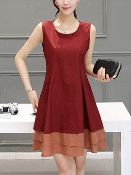 Ericdress Patchwork Round Collar Pleated Casual Dress