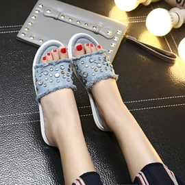 Ericdress Denim Rhinestone Mules Shoes