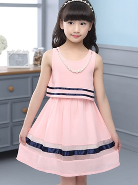 Ericdress Lace-Up Sleeveless Girls Dress