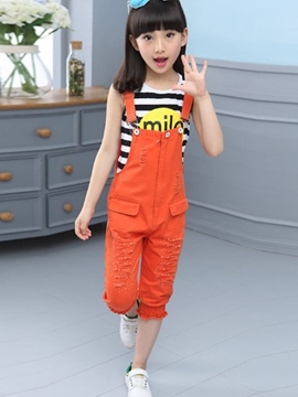 Ericdress Worn Suspenders Strips Printed Girls Outfits