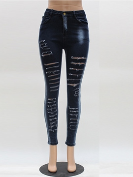 Ericdress Fashion Simple Ripped Jeans
