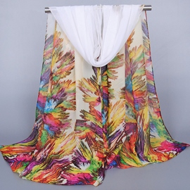 Ericdress Oil Painting Floral Chiffon Scarf