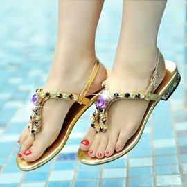 Ericdress Bling Rhinestone Thong Flat Sandals