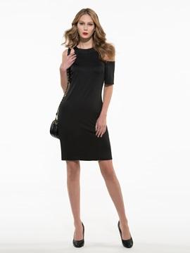 Ericdress Off-the-Shoulder Sheath Little Black Dress