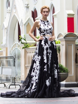 Ericdress A-Line Scoop Appliques Court Train Evening Dress