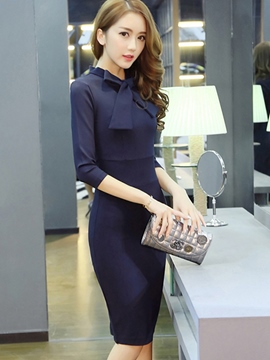 Ericdress OL Style Soild Color Bowknot Sheath Dress