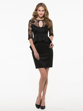 Ericdress Sexy Lace Mesh Hollow Peplum Bodycon Dress