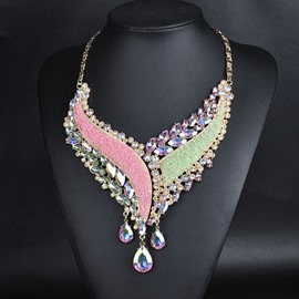 Color Alloy Rhinestone Necklace