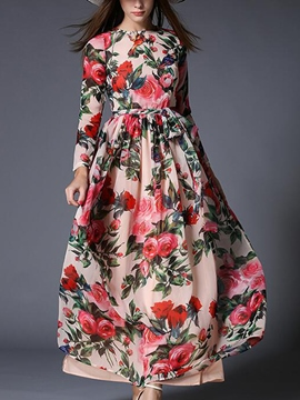 Ericdress Chic Vintage Print Maxi Dress