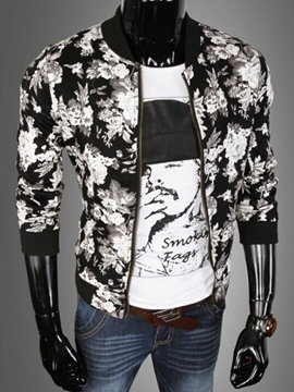 Ericdress Flower Zip Casual Men's Jacket