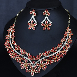 Ericdress Shining Rhinestones Flowers Jewelry Set