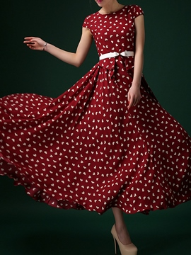 Ericdress Print Patchwork Expansion Round Neck Maxi Dress