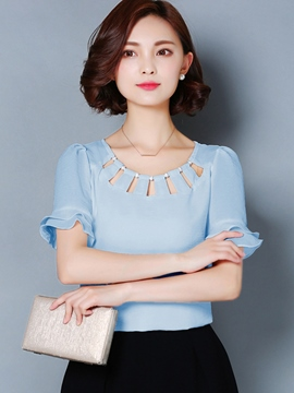 Ericdress Solid Color Hollow Beads Blouse