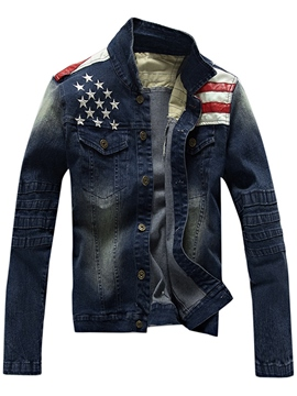 Ericdress Patchwork Flag Pattern Denim Casual Men's Jacket