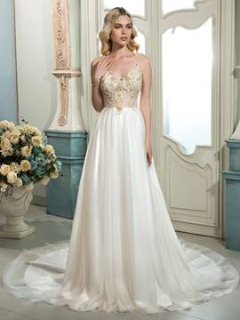 Ericdress Beautiful Spaghetti Straps Beaded A Line Wedding Dress
