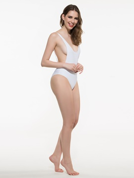 Ericdress Simple Plain Backless Sexy Monokini