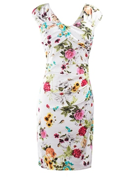 Ericdress Ladylike Print Bodycon Dress