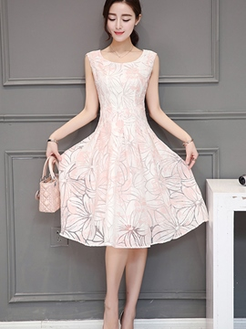 Ericdress Organza Flower Pattern Casual Dress