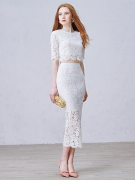 Ericdress Two Pieces Scoop Sheath Half Sleeves Lace Tea-Length Evening Dress