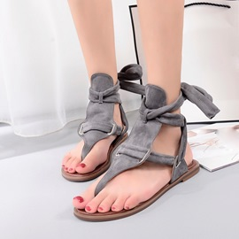 Ericdress Gray Square Heel Lace-Up Thong Flat Sandals