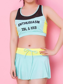 Ericdress Color Block Print Sports Casual Tankinis