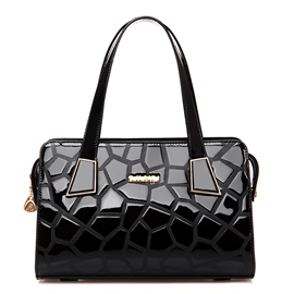 Ericdress Geometric Embossed Patent Leather Handbag