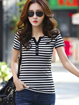 Ericdress Slim Stripped Casual T-Shirt