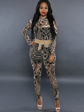 Ericdress Slim Print Jumpsuits Pants