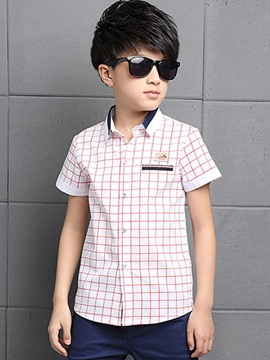 Ericdress Short Sleeve Plaid Preppy Boys Shirt