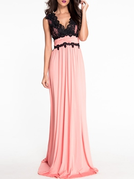 Ericdress Lace Patchwork V-Neck High-Waist Maxi Dress
